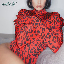 SUCHCUTE Snake Print Female Bodysuit Body For Women With Gloves Bodycon High Nec