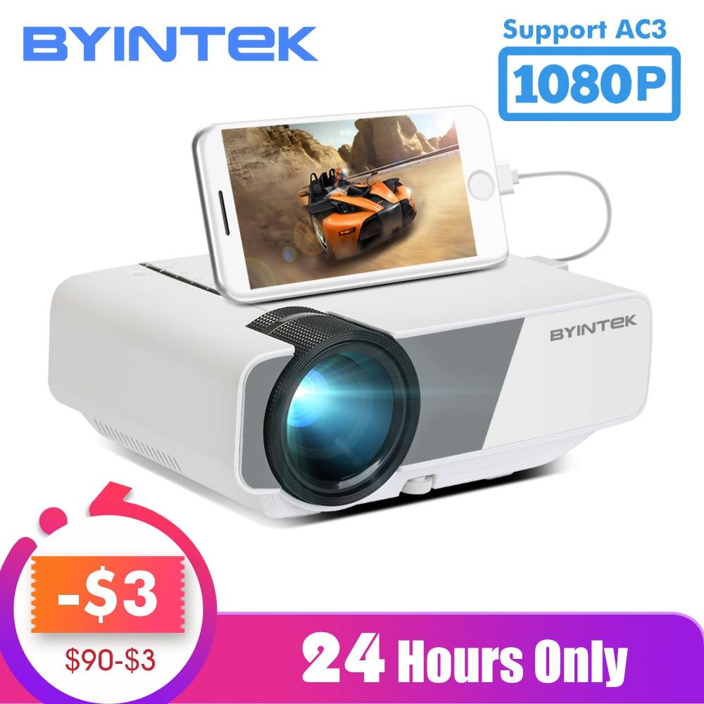 Byintek sky k1/k1plus led portátil de cinema em casa hd mini projetor (opcional exibição de sincronização com fio para iphone ipad telefone tablet)