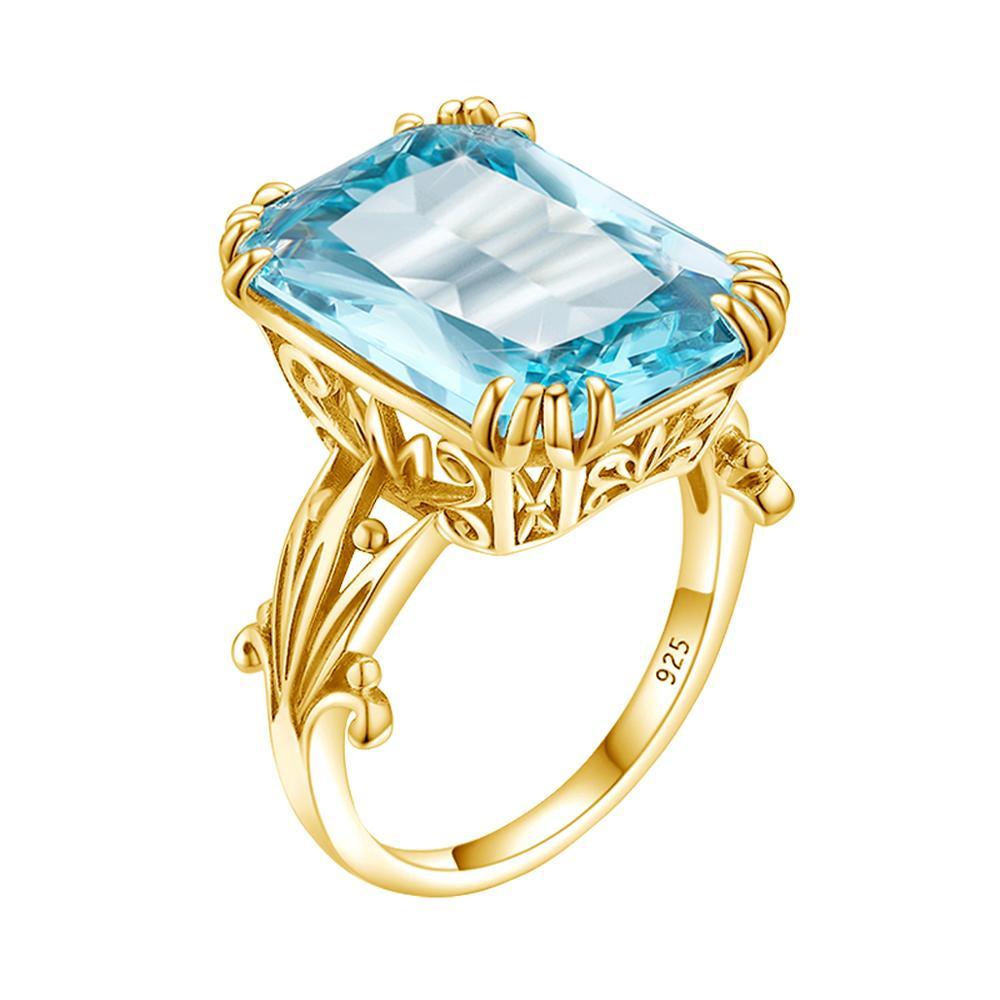 Szjinao-anillos de Aguamarina para mujer, Plata de Ley 925 de 14K, Color dorado, Topacio Azul, anillo Punk, joyería rectangular de plata 925