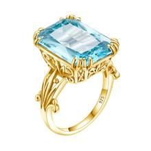 Szjinao aigue-marine anneaux 925 en argent Sterling femmes 14K or couleur bijoux non définie Punk anneau grand Rectangle argent 925 bijoux