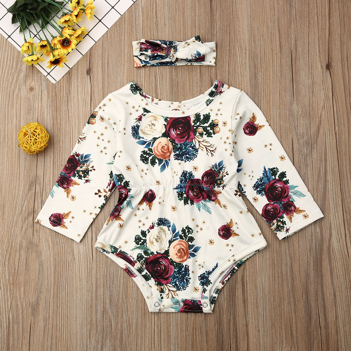 Pudcoco Newborn Baby Girl Clothes Flower Print Long Sleeve Cotton Romper Jumpsuit Headband 2Pcs Outfits Clothes