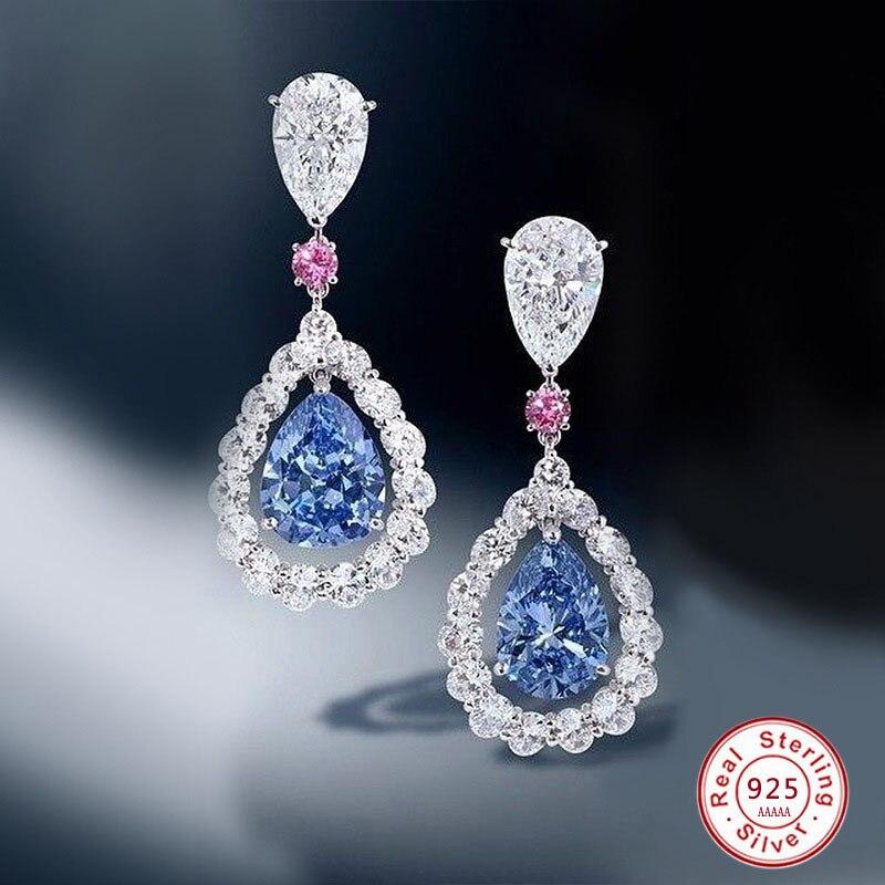 Luxury Female Blue/PInk Water Drop Earrings Fashion 925 Sterling Silver Zircon Stone Earrings Long Tassel Earrings For Women