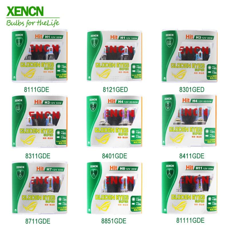 XENCN 12 В 2300K ксеноновые автомобильные галогенные фары с золотыми глазами H1 H3 H4 H7 H8 H9 H10 H11 H13 H15 H16 9004 9005 9006 9007 9008 880 881
