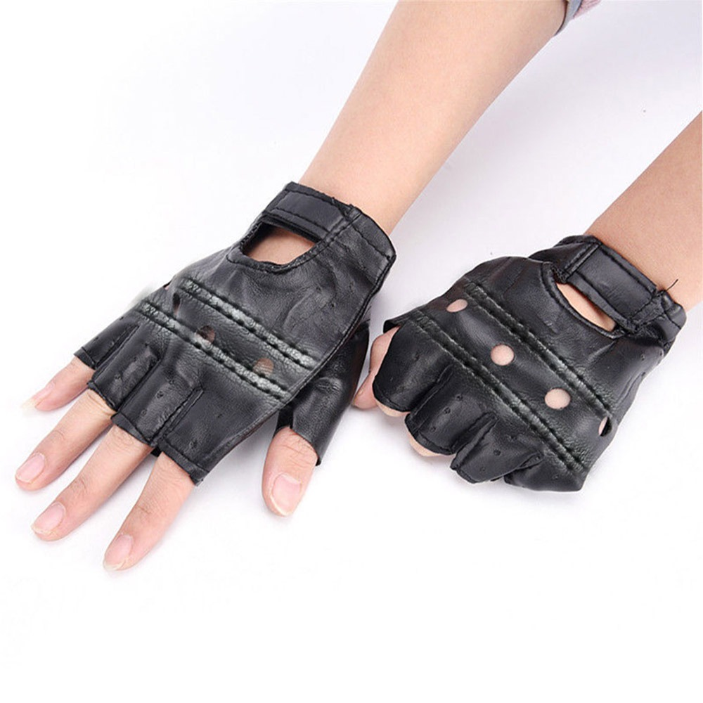 2019 New   Hot  Fashion PU Leather Black Driving Motorcycle Biker Fingerless Gloves Men Women Gloves