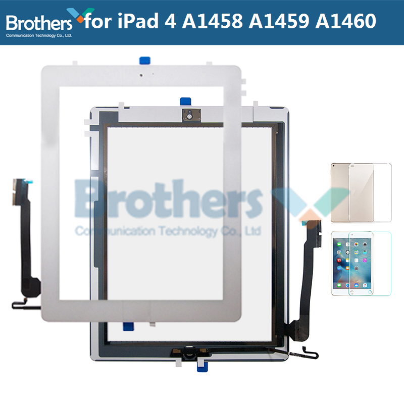 Панель т-дисплея для планшета iPad 4 A1458 A1459 A1460, дигитайзер в сборе, стеклянный датчик с кнопкой «Домой» для iPad 4, репликатор экрана