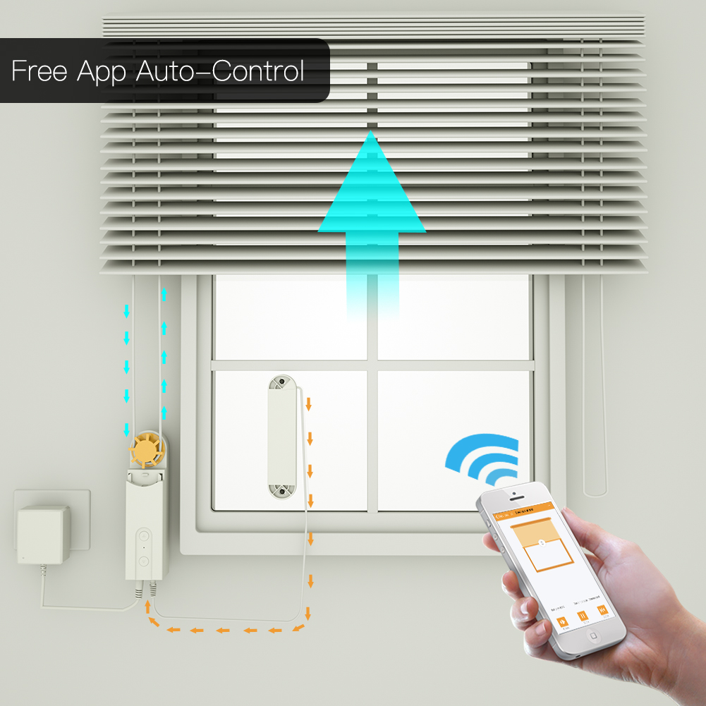 Automatic DIY Smart Motorized Chain Roller Blinds Drive Motor Powered By Solar Panel and Charger Build-in Bluetooth APP Control