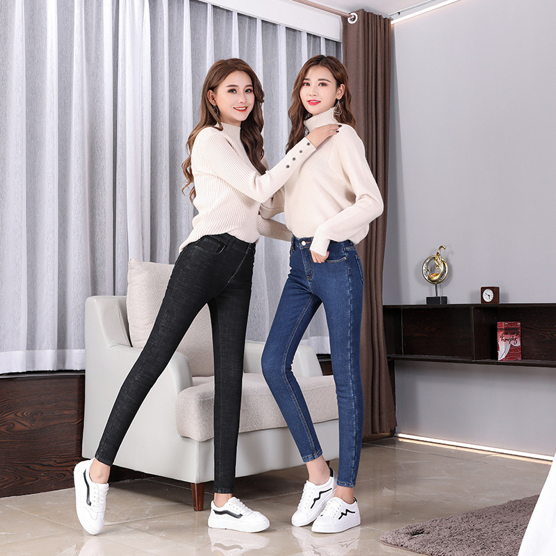 Autumn And Winter Brushed And Thick Korean-style WOMEN'S Jeans High-waisted Elasticity Skinny Pants Slim Fit Slimming Cowboy WOM