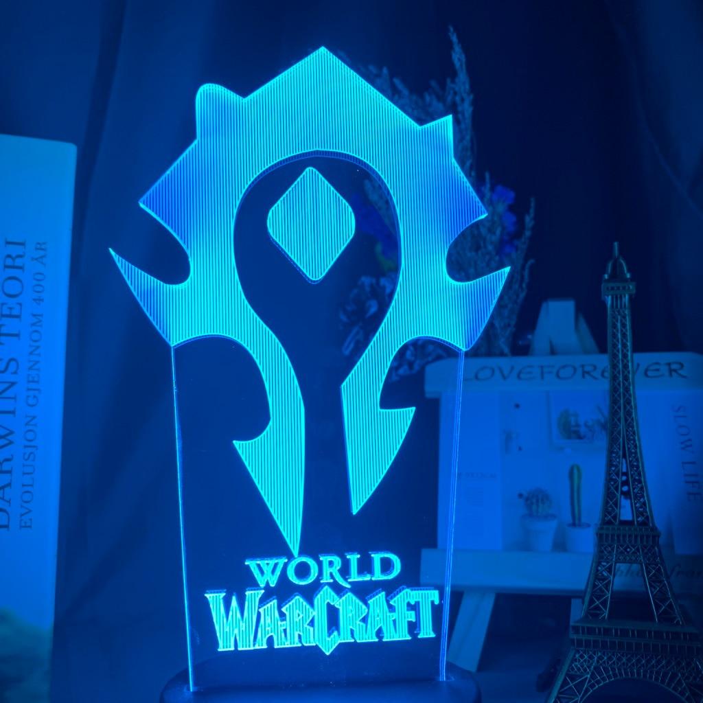 H622c830774ba4768b0588bcfb998f049i Luminária World of warcraft Luz da noite 3d jogo horda bandeira cor mudando nightlight para crianças criança cama quarto decoração sensor de toque lâmpada led wow presente