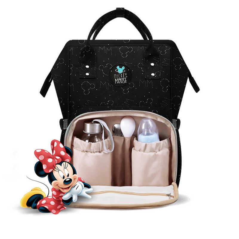 Disney bébé couches sacs USB chauffage imperméable maternité couche-culotte poussette sac isolation grande capacité Mochila sac à dos