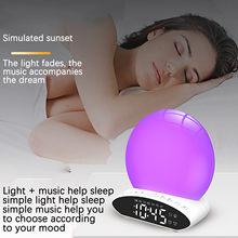 Lámpara de mesita de noche, despertador con proyección, colorida, cambia de Color, música, ayuda para dormir, simulación de amanecer y atardecer, n. ° 4