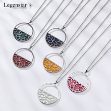 Legenstar Interchangeable Leather Charm Pendant Necklace Women Silver Stainless Steel Long Jewelry Collier Femme 2019