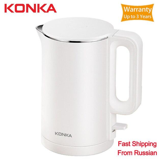 Original KONKAไฟฟ้ากาต้มน้ำหม้อชา1.7L Auto Power Offป้องกันหม้อไอน้ำTeapotความร้อนทันทีStainles Fast Boiling