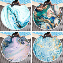 Marble Round Beach Towel For Adults Microfiber Compressed Beach Towel With Tassels Abstract Summer Large Bath Towel Yoga Mat round tie dyed tassels sarong beach throw