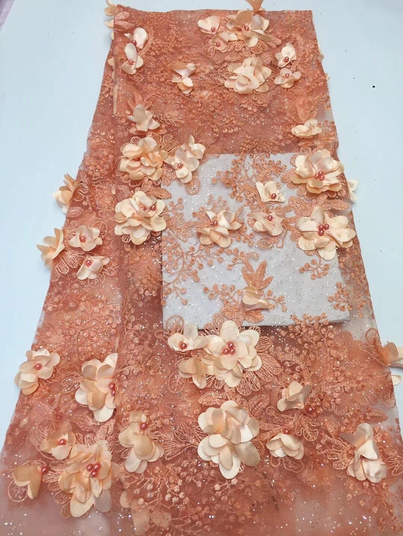Вышитые ткани кружева африканская ткань, Румяна Розовый Аппликация Кружева, 3D цветок Африканские кружева для платьев RF381