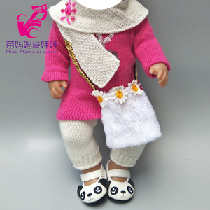 baby doll clothes set for 43cm born baby Doll knit dress hat scarf For 18