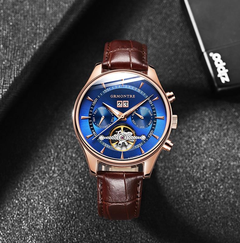 H622cc5d7b5674637a236893e9d04b6a53 Skeleton Tourbillon Mechanical Watch Men Automatic Classic Rose Gold Leather Mechanical Wrist Watches Reloj Hombre 2018 Luxury