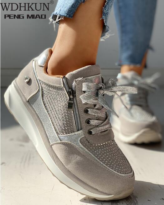 Women Shoes Gold Sneakers Zipper Platform Trainers Women Shoes Casual Lace-Up Tenis Feminino Zapatos De Mujer Womens Sneakers