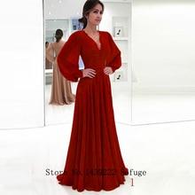 Sofuge zarif müslüman abiye A line uzun kollu şifon dantel kanat Dubai suudi arabistan uzun akşam parti balo elbisesi