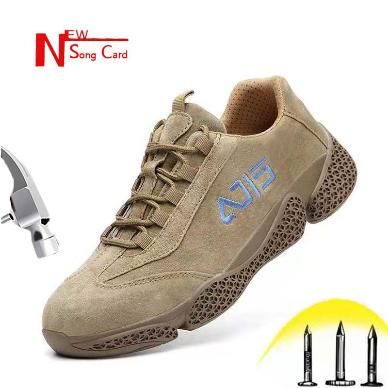 New Song Card Men Leather Indestructible Stab-resistant Safety Work Shoes Outdoor Cap Toe Steel Construction Plus Size Sneakers