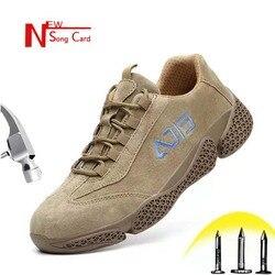 Nova de couro homens cartão canção indestrutível stab-resistente biqueira de aço sapatos de segurança do trabalho Ao Ar Livre de Construção mais tênis tamanho