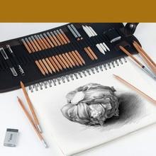 Макро угольный карандаш Профессиональный 2B HB простой карандаш набор ластик нож художественные принадлежности Офис школа твердый карандаш