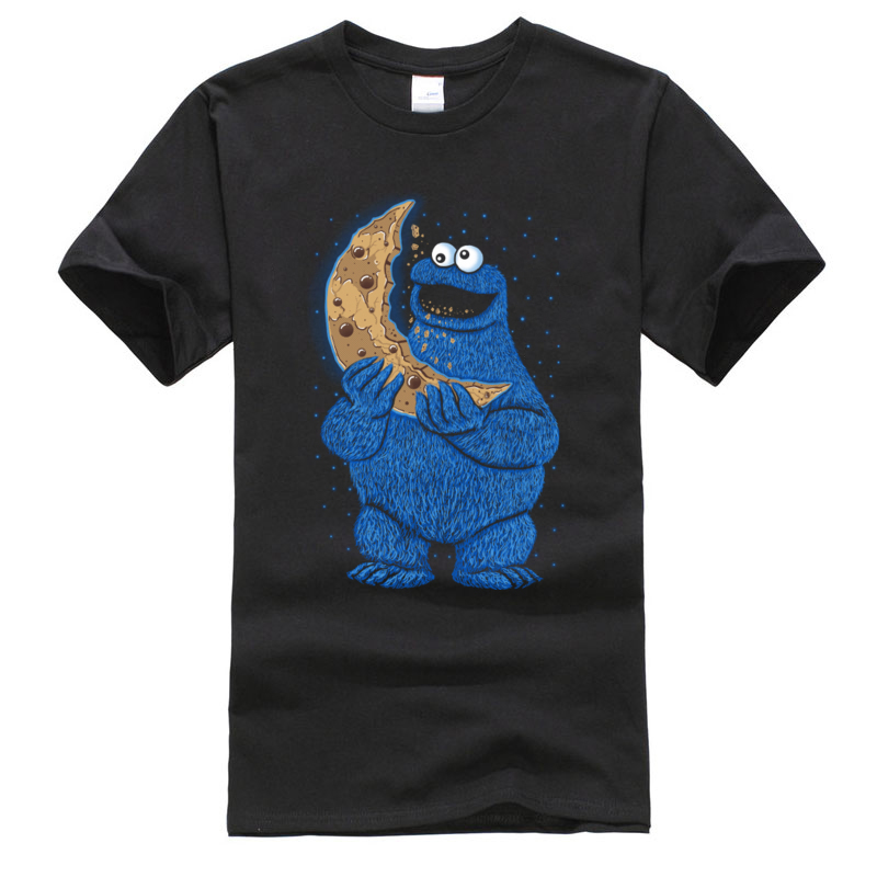 Sesame Cookie Monster Moon Crackers Man Tshirt Funny Crewneck Print Short Sleeve 100% Cotton Men T Shirts Casual Tops & Tees