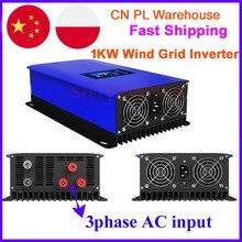 1000W energii wiatrowej inwerter sieciowy z kontroler obciążenia zrzutu/wewnętrzny ogranicznik do 24v 48v 60v AC DC wiatr generator z turbiną