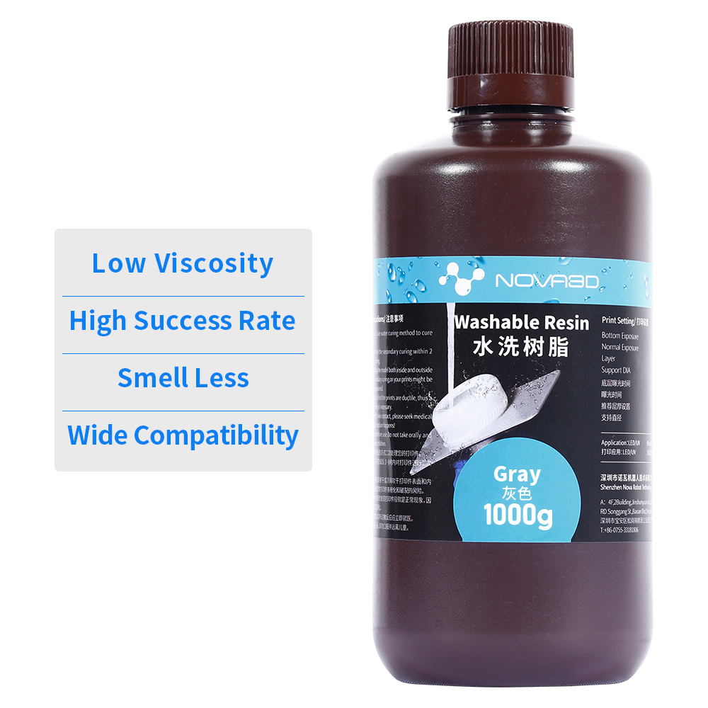 NOVA3D вода моющаяся Резина 3d Принтер lcd 405nm УФ смолы высокое качество чувствительный жидкий фотополимер impresora 3d resina