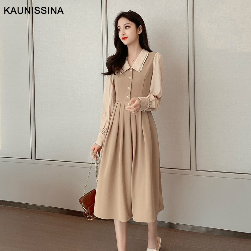KAUNISSINA Korean Dress Elegant Cocktail Dresses Long Sleeve Turn Down Collar Patchwork Party Robe Homecoming Gown