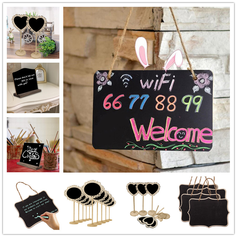 Wooden Wall Hanging Decoration Shelf Coffee Shop Wall Mounted Chalkboard Rack With Chalkboard Wedding Heart Decoration