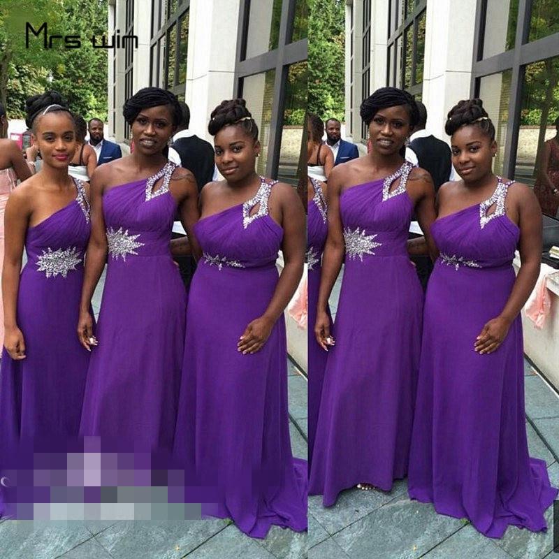 Mrs Win Bridesmaid Dresses For Girls Elegant One Shoulder Wedding Guest Dress Plus Size Cystal Long Vestido Madrinha HR083