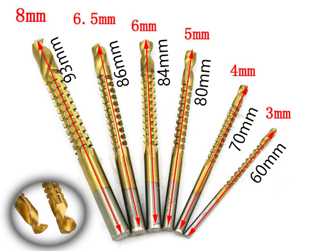 Factory Wholesale 6pcs 3-8mm Titanium Coated HSS Drill Bit Electric Drill Plastic Wood Hole Grooving Drill Woodworking Tools