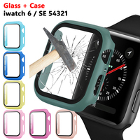 Protector de pantalla de vidrio templado + funda dura para Apple Watch Series 6 5 4 3 2 1 SE 44mm 40mm IWatch funda 42mm 38mm película