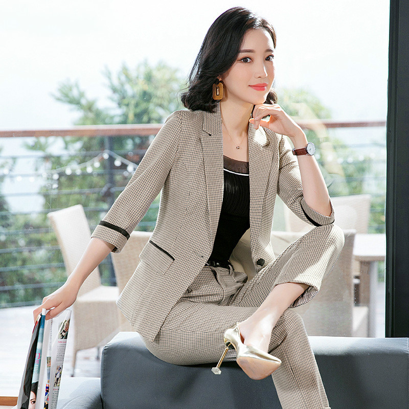 Women's Business Office Suit Set 2019 Spring And Autumn Casual Double Pocket Plaid Blazer Slim Pants High Quality Ladies Suit