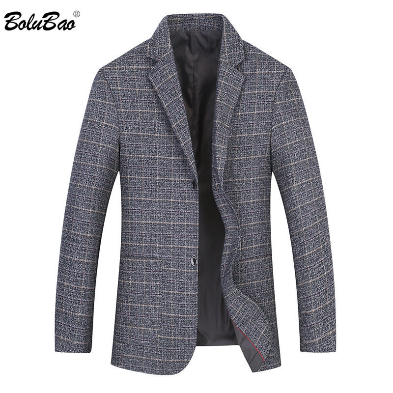 BOLUBAO Men Lattice Blazer Brand Warm Men's Suit High Quality Autumn Winter Fashion Single Breasted Casual Blazers Coat Male