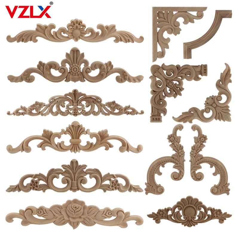 Mirror Frame Antique Woodcarving Natural Floral Wood Carved Wooden Figurines Crafts Appliques Wall Door Furniture Decorative
