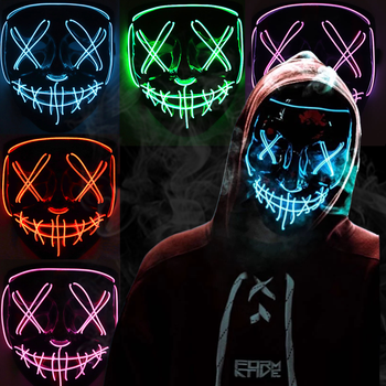 Halloween LED Mask Cosplay DJ Party Neon Light Up Masks Masquerade Carnival Costume Props 1pc 3d mask halloween carnival party props full face masks masquerade cosplay props diy horror funny latex mask new 2018