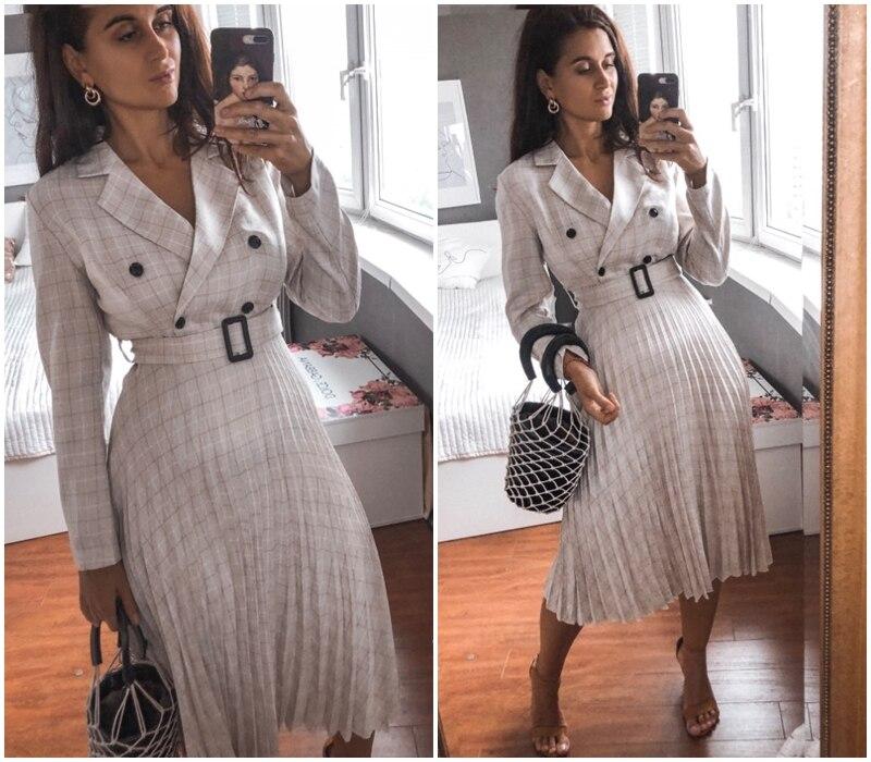 Affogatoo Elegant button belt Plaid women blazer dress Sexy v-neck pleated office ladies dress Long sleeve female party dresses 12