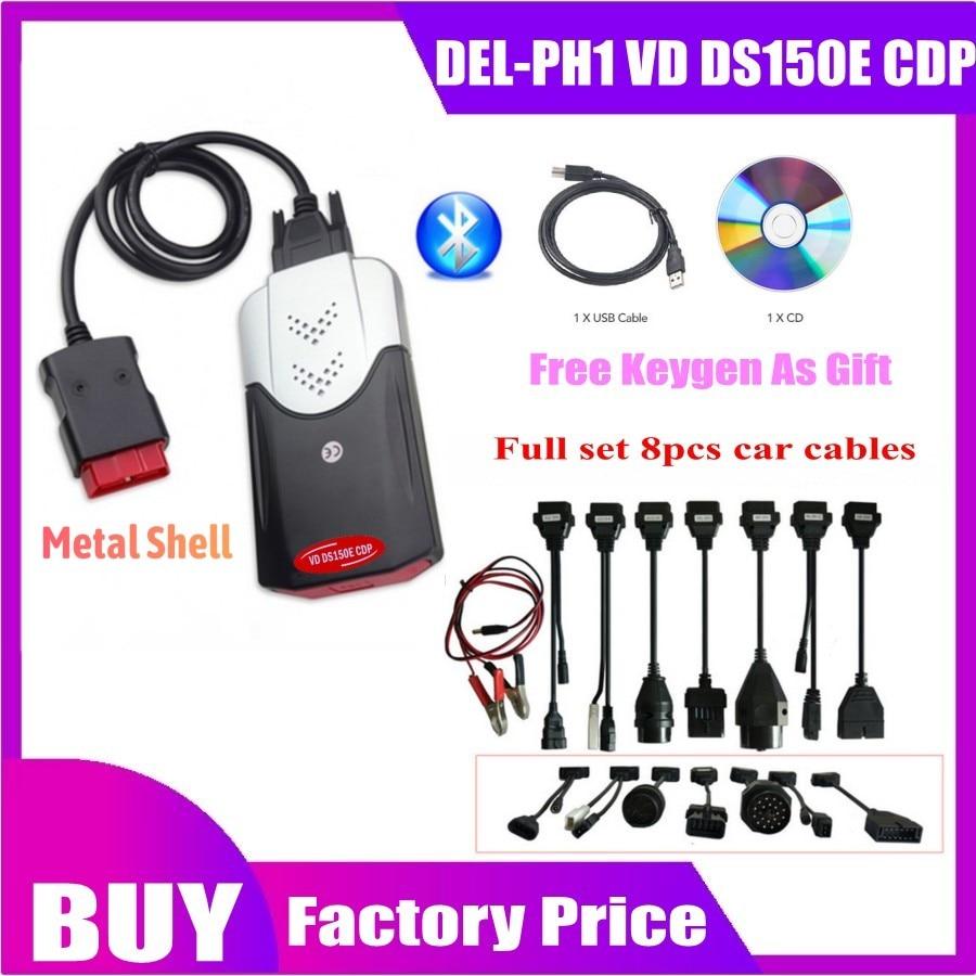 2020 Vd Tcs Cdp Obd Obd2 Scanner For Delphis Vd DS150E Cdp 2016.R0 Bluetooth For Car Trucks Diagnostic Tool+8 Pcs Car Cables