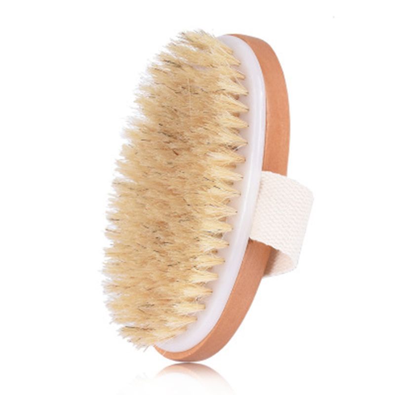 Natural Boar Bristles Dry Body Brush Wooden Oval Shower Bath Brushes Exfoliating Massage Cellulite Treatment Blood