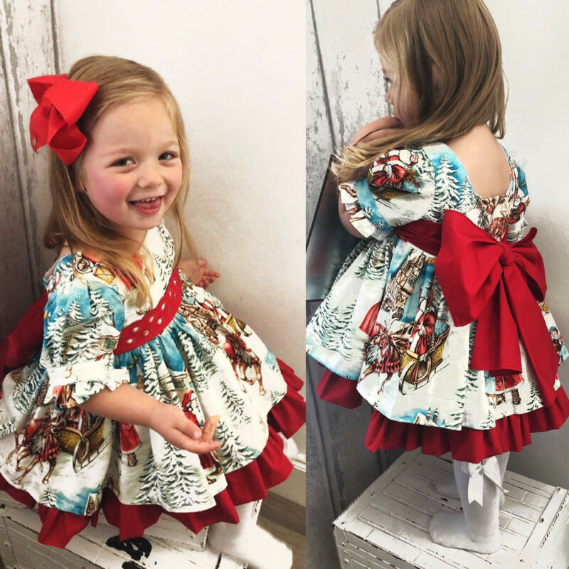 2019 Christmas Princess Dress Cute Toddler Baby Girl Dress Cartoon Printed Bow Tie Belt Ruffled Tutu Sweet Baby Birthday Dress