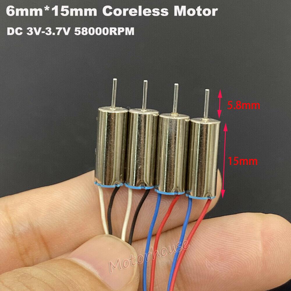 4pcs/lot 615 6mm*15mm Mini Tiny Coreless Motor DC 3V 3.7V 50000RPM Ultra-High Speed Engine CW+CCW DIY RC Drone