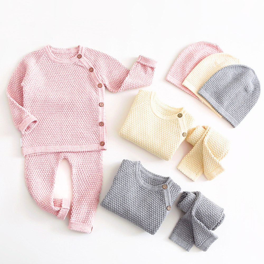 Baby Boy Girl Clothes Sets Spring Autumn Newborn Baby Girl Clothing Christmas Tops + Pant Outfits Baby Knit Sweater Baby Pajamas 1