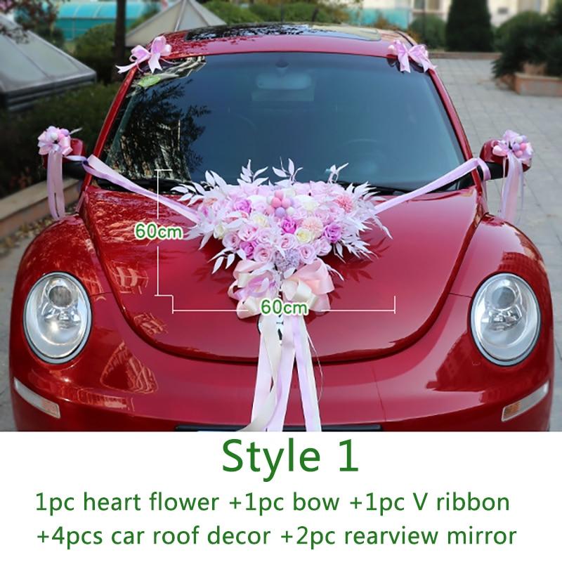 Wedding Artificial Flowers with Flamingo Led Light Car Decoration DIY Silk Flower Valentine's Day Set Wedding Wreath Party Decor - 4