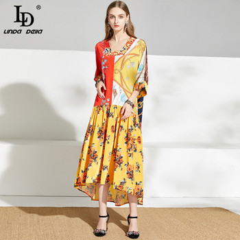 цена на LD LINDA DELLA Summer Vintage Loose Dress Plus size Women Floral Print Asymmetrical Designer Dresses Ladies Midi Dress vestidos