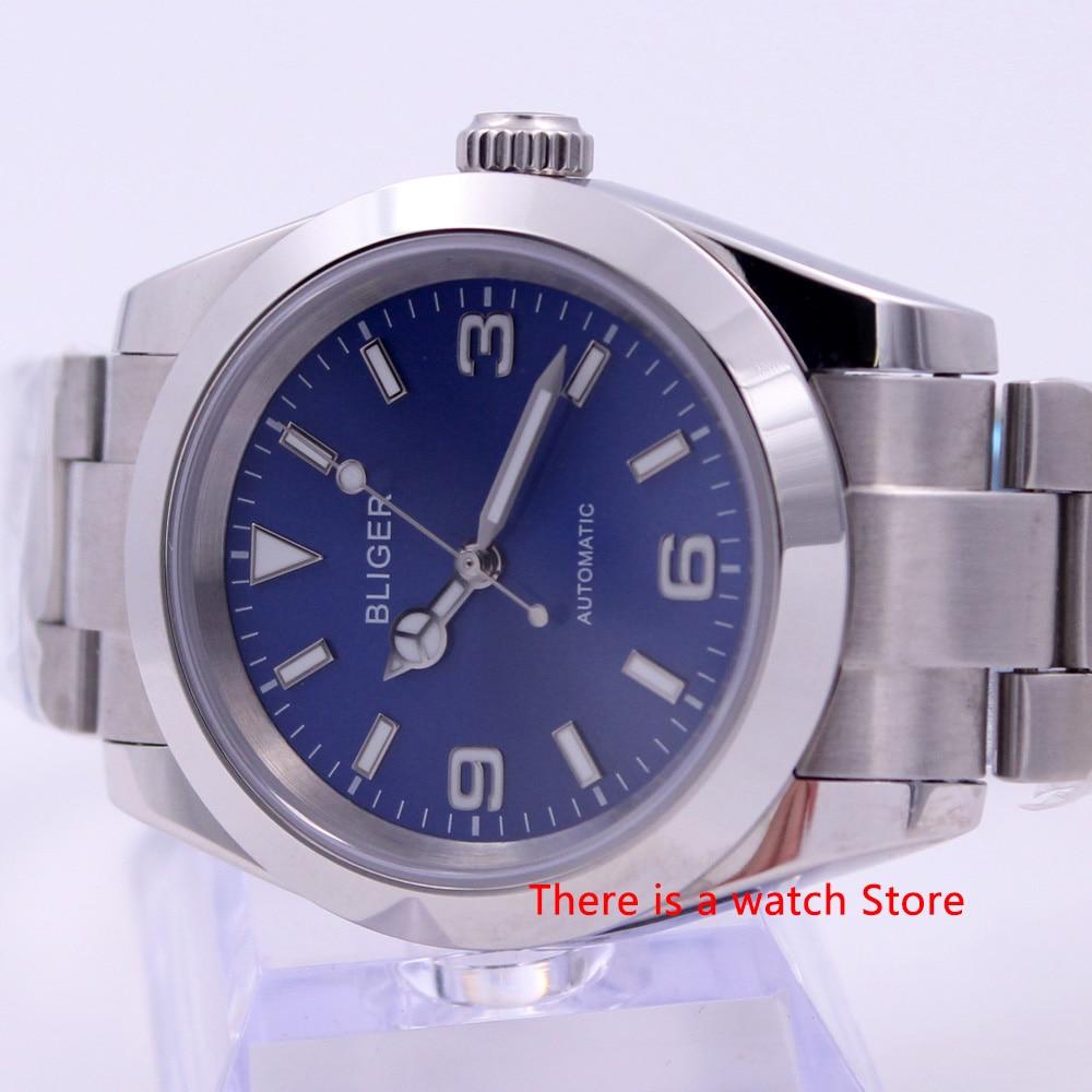 Bliger 40mm Automatic Mechanical Men Watch Luxury Brand Luminous Waterproof Sapphire Glass Stainless Steel Case Men's Watch
