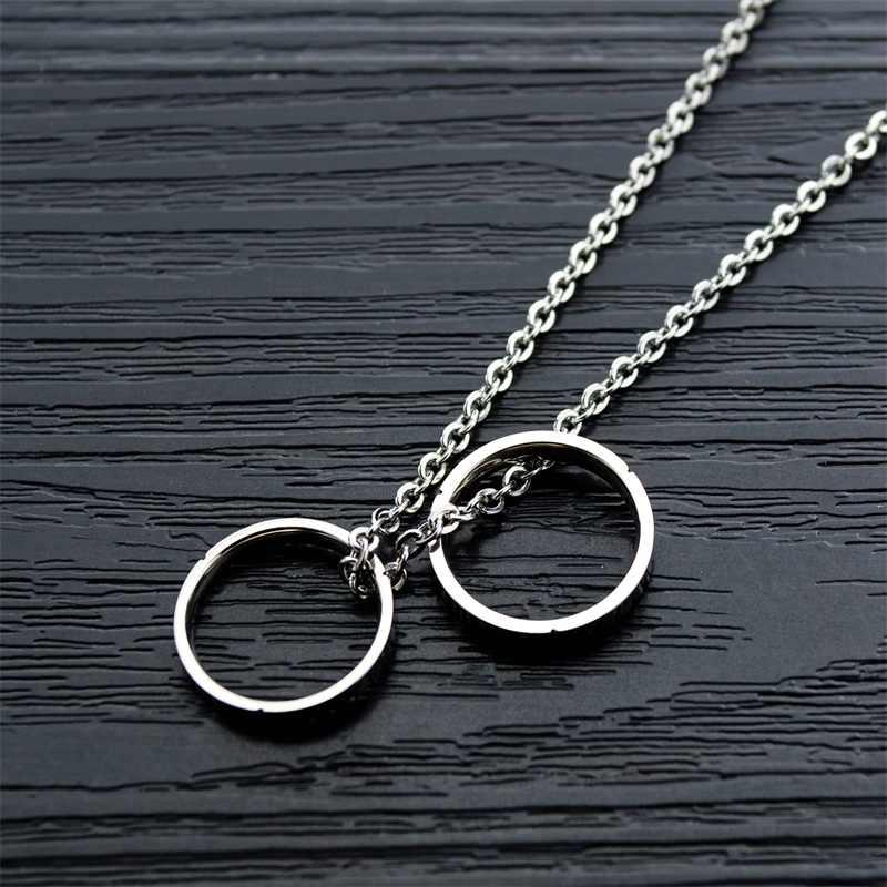 AZIZ BEKKAOUI grawerowane nazwa podwójny pierścień wisiorki naszyjnik dla kobiet mężczyzn ze stali nierdzewnej Unisex spersonalizowane Logo naszyjniki
