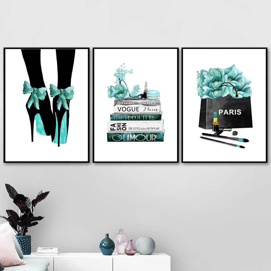 Watercolor Vogue High Heels Flower Salon Wall Art Canvas Painting Nordic Posters And Prints Wall Pictures For Living Room Decor