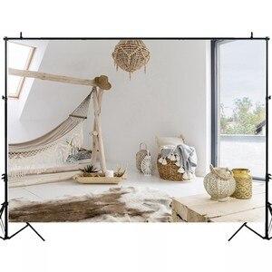 Image 2 - Laeacco Võng Xe Tăng Bình Gỗ Đèn Chùm Cửa Sổ Phòng Bé Trang Trí Nội Thất Chụp Ảnh Phông Nền Chụp Ảnh Nền Đạo Cụ