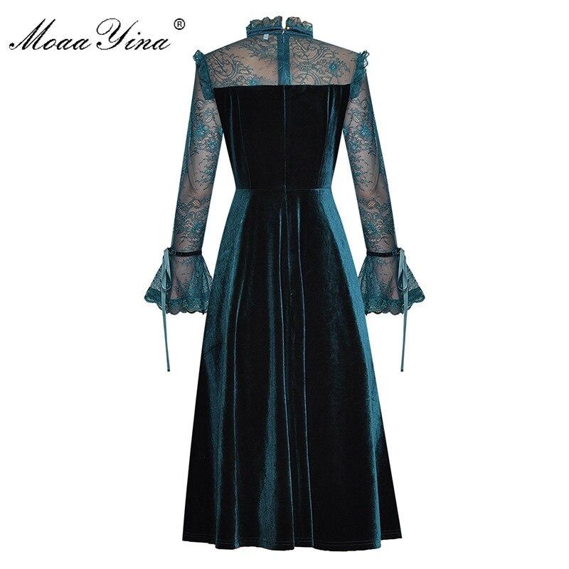 Image 2 - MoaaYina Fashion Designer Runway dress Spring Summer Womens  Dress Lace Long sleeve Patchwork Velvet DressesDresses
